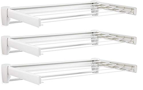 Leifheit 83201 Telefix 70 Wall Mount Retractable Clothes Drying Rack   5 Drying Rods   White Pack of 3