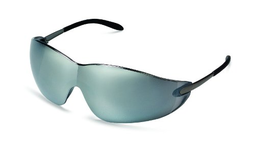 MCR Safety S2117 Blackjack Safety Glasses with Chrome Metal Temple and Silver Mirror Lens