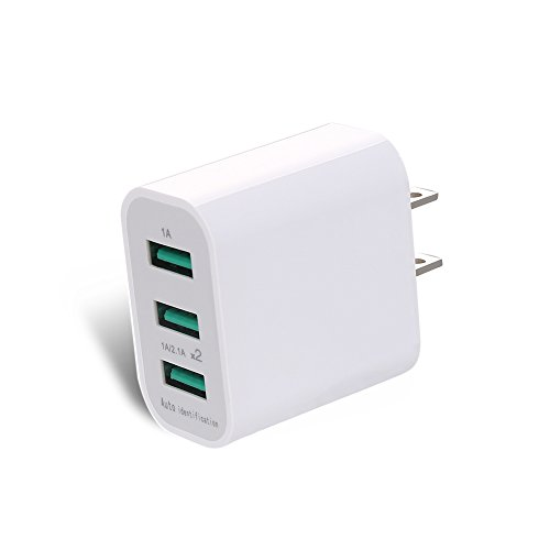 Wall charger 10.5W/2.1A 3-Port USB Portable Travel Wall Charger for iPhone 7/6s/6 Plus, iPad, Samsung , HTC Nexus Blackberry, Bluetooth Speaker Headset & Power Bank, and More