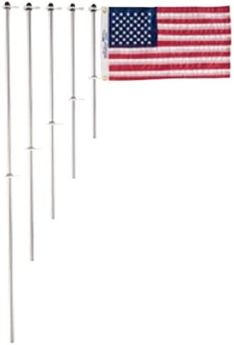 """FLAG DESK TOP STERLING SILVER FLAG POLE with SILK U.S 10-3//4/"""" High"""
