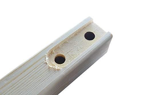 "DIYHD 96"" Knotty Pine Wood Sliding Library Ladder Rolling Ladder(Unfinished)"
