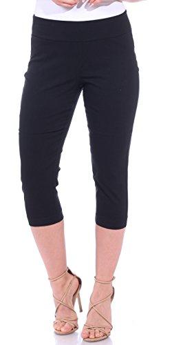 One5One Women's Shaping Stretch Pull On Dress Capri Pants Miracle Ab Shaper Black Medium (8-10) ()