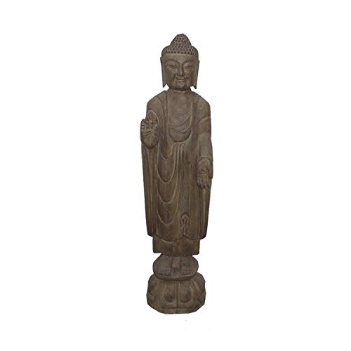 Golden Lotus Standing Carving Natural Stone Buddha Statue with Fearlessness Hand Symbol Awk2738