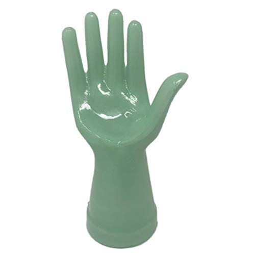 Reproduction Jewelry - Jadeite Mannequin Jewelry Ring Display Hand - Reproduction Jadite Green Glass Accessory Holder