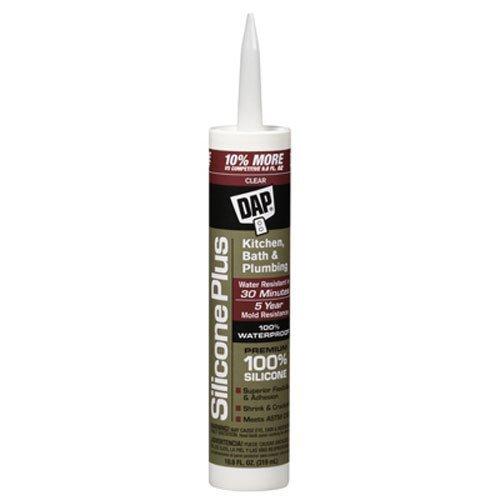 Sealant Rubber Silicone Dap (Dap 08781 10.8-Ounce Clear Silicon Plus Premium Silicone Rubber Sealant)