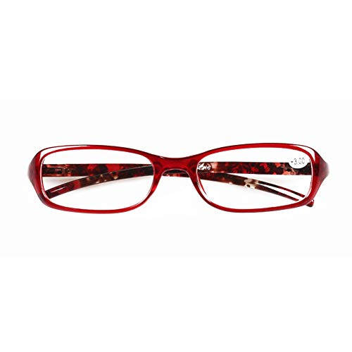 (Jangona TR90 Reading Glasses Resin Lens Fashion Style Red Rectangular Frame for Men & Women 1.0 1.5 2.0 2.5 3.0 3.5 4.0)