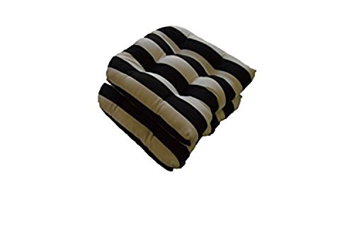 Set of 2 - Universal Tufted U-shape Cushions for Wicker Chair Seat - Black and White Stripe - Indoor / Outdoor (Chair Patio Cushions White)