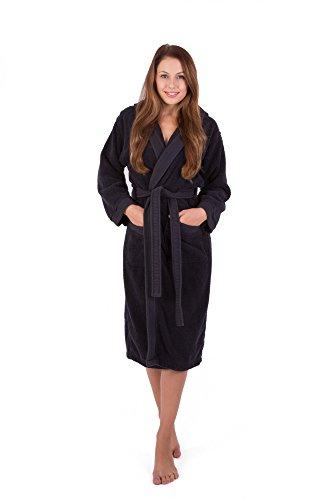 Julie julsen flauschiger–Albornoz para hombre y mujer en las tallas S–XXXL y colores actuales–Sauna abrigo Bata algodón Capucha, 100% algodón, negro, xx-large