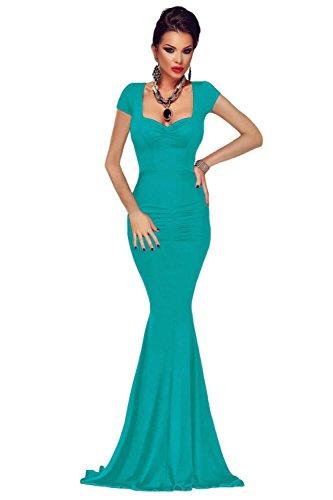 Elegante Damen grün Perlen Spitze bis Zurück Abend Cocktail Ball Kleid Party Dance Club tragen Größe S UK 8–10EU 36–38