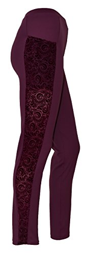 Private Island Hawaii Women UV Rash Guard Leggings Long Pants Swim Suit (Velvet) with Pockets, UPF50+ Outdoor Yoga, M Dark Wine with Velvet Dark Wine (Velvet 5 Pocket Pants)