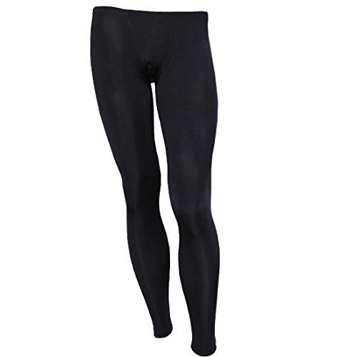 YiZYiF Men's Sports Fitness Pants Long Johns Leggings Compression Trousers Black ()