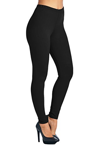 Leggings Mania Women's Plus Solid Color Full Length High Waist Leggings Black by Leggings Mania