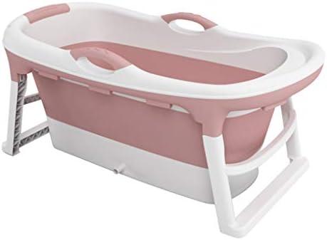 バスタブ 大型折りたたみ式バスタブ 子供用プール 成人環境健康バス 家庭用簡易バスタブ (Color : Pink, Size : 121*63*54cm)