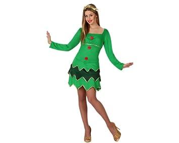 Atosa-17246 Disfraz À Rbol Navidad Mujer Adult, color verde, ML (17246)