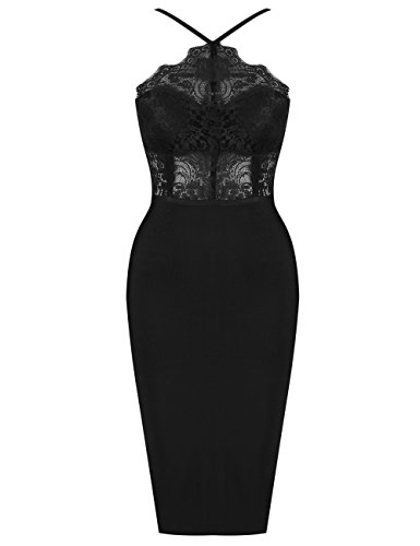 UONBOX Women's Sexy Lace Spliced Backless Spaghetti Strap Halter Cocktail Party Bandage Dress Black M ()