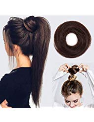 Stamped Glorious 100% Human Hair Messy Bun Hairpiece Scrunchy Donut Hair Chignons Hair PieceDark Brown