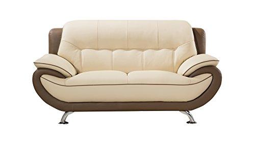 - American Eagle Furniture EK-B600-CRM.TPE-LS.V2 Georgina Mid Century Modern Leather Living Room Loveseat, 68
