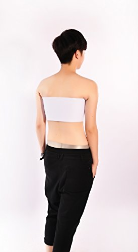 Wrap Donne Bianco Top Lesbiche Senza Baronhong Trans Seno Busto Elastico Spalline Tomboy Cosplay Binder tUnCwq