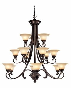 Dolan Designs 1083-207 Brittany 15 Light 3 Tier Chandelier, Deep Bronze