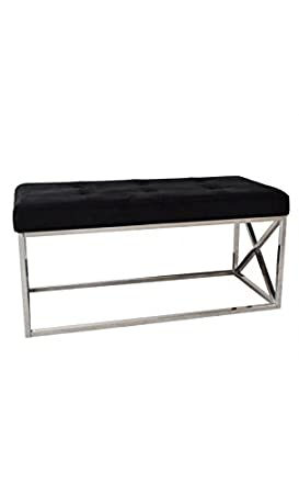 Dream Loft Banc Ou Bout De Lit Capitonné Noir Et Chrome Milwaukee