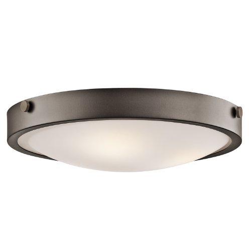 Kichler Lighting 42275OZ Lytham 3-Light Flush Mount, Olde Bronze Finish with Satin Etched White Glass by Kichler Lighting
