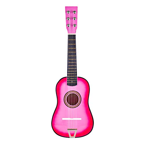 WOLFBUSH Children Guitar Toy 6 Strings Wood Simulation Guitar for Kids Early Education Musical Instrument Toy for Toddler Boys Girls (Triangulation Light Pink)