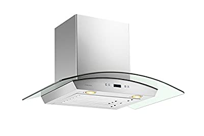 "CAVALIERE 30"" Inch Glass Canopy Range Hood Wall Mounted Stainless Steel Kitchen Vent"