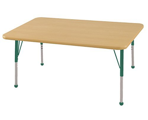 ECR4Kids Mesa T-Mold 30 x 48 Rectangular School Activity Table Toddler Legs w/Ball Glides Adjustable Height 15-23 inch (Maple/Green) [並行輸入品] B07K9S1W7N