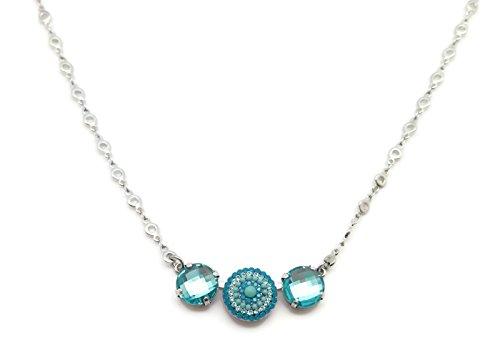 Mariana Silver Plated Swarovski Crystal Necklace Checkerboard Cut Aqua Circle Mosaic 1082 (Aqua Brass Cut Collection)