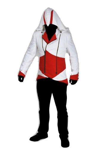 Mens Coat Jacket Hoodie Cap Cloak Cosplay Costume (XL, Red&White)