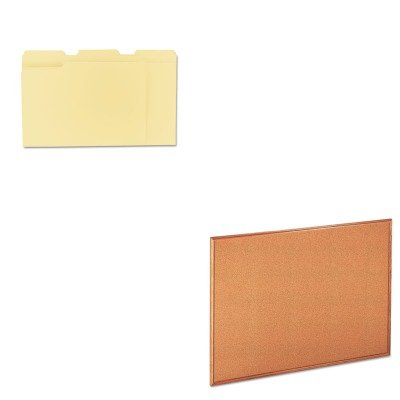 KITUNV12113UNV43604 - Value Kit - Universal Cork Board with Oak Style Frame (UNV43604) and Universal File Folders (UNV12113)