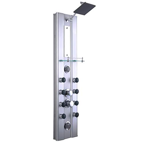 COSTWAY Panel Rainfall Waterfall Head System with Massage Jets and Hand Shower (46