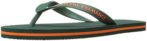 A|X Armani Exchange Mens Armani Exchange Solid Flip Flop Evergreen/Flame