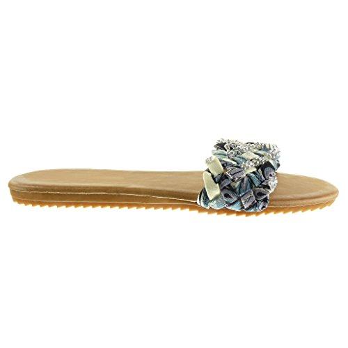 5 1 Angkorly Flops Braided Sandals Fashion Heel Rhinestone Flip cm Women's Thong Shoes Grey Flat PwXr7qnPxZ