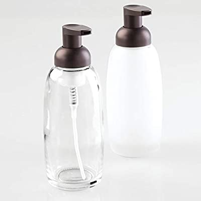 mDesign Modern Glass Refillable Foaming Soap Dispenser Pump Bottle for Bathroom Vanities or Kitchen Sink, Countertops - Set of 2 - Clear/Bronze, Frost/Bronze - SAVE ON SOAP: This foaming soap dispenser utilizes a foaming soap solution to produce a rich lather while using less soap; Use a foaming soap refill mix or mix your own using 1 part soap and 5 parts water; Pack of 2 GENEROUS CAPACITY: Each dispenser pump holds 12 ounces of foaming soap solution and is easy to refill with the removable pump head and wide mouth A DISPENSER FOR EVERY SINK: Place foaming dispensers on bathroom vanity countertops or kitchen sinks to keep soap always at your fingertips; Also great for dorm rooms, apartments, RVs and more - bathroom-accessory-sets, bathroom-accessories, bathroom - 31VnKLTbj6L. SS400  -