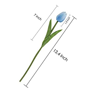EZFLOWERY 10 Heads Artificial Tulips Flowers Real Touch Arrangement Bouquet for Home Room Office Party Wedding Decoration, Excellent Gift Idea for Mothers Day (10, Blue) 3