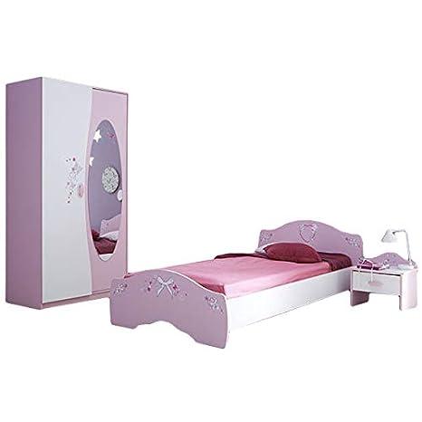 Kinderzimmer AVA 3-teilig Rosa weiß Mädchen Bett ...