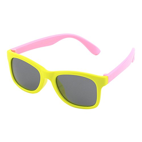 CGID Soft Rubber Kids Wayfarer Polarized Sunglasses for Children Age - Benefits Yellow Lense Glasses