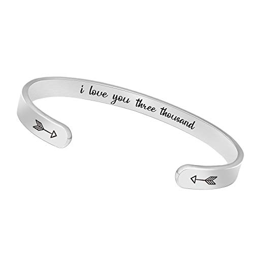 Btysun I Love You 3000 for Women Cuff Bracelets Friendship Mantra Jewelry Come Gift Box (i Love You Three Thousand)