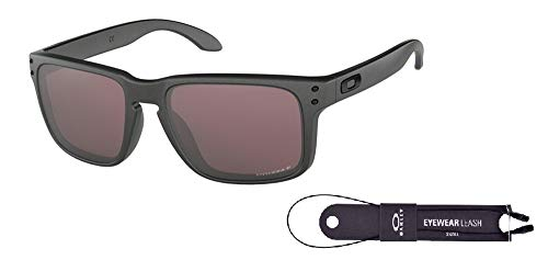 Oakley Holbrook OO9102 9102B5 57M Steel/Prizm Daily Polarized Sunglasses For Men For Women+ BUNDLE with Oakley Accessory Leash ()