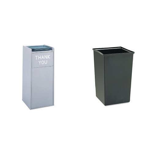 Safco Products 9729GR Wood Food Court Waste Receptacle, Kit includes solid plastic liner 9669, 36-Gallon, Gray - Food Court Receptacle