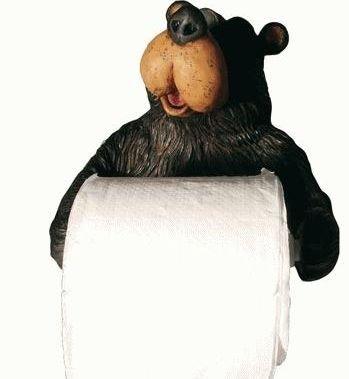 Willie Black Bear Holding Roll Of Toilet Tissue Wall Mounted Toilet Paper Holder Rack 7.5''