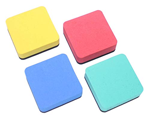 Magnetic Whiteboard Erasers EVA 24pack Home,School,Office,children 4mix colors 6 each(yellow,blue,red,reseda) by VOOKY