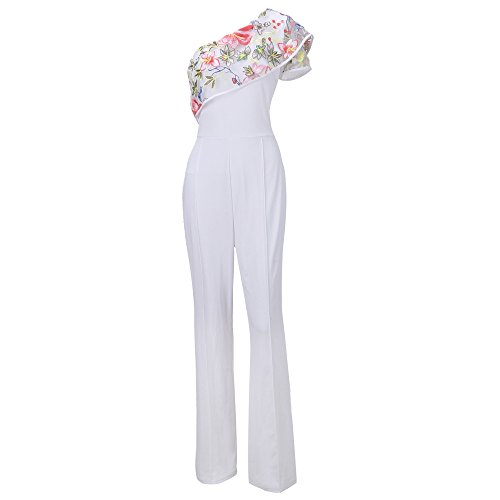 Woman Sleeveless Ruffled Lace Jumpsuits (White) - 4
