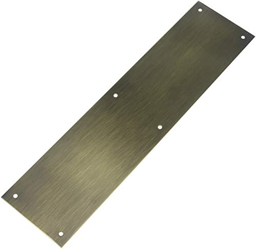 (Baldwin 2124 4 Inch x 16 Inch Solid Brass Square Edge Push Plate, Satin Brass and Black)