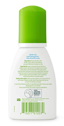 Babyganics Foaming Dish & Bottle Soap for Travel, Fragrance Free, 3.38oz, 3 Pack, Packaging May Vary