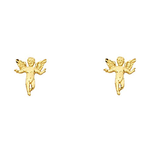 Angel Gold Earrings (14K Yellow Gold Fancy Angel Stud Earrings (8 X 11mm))