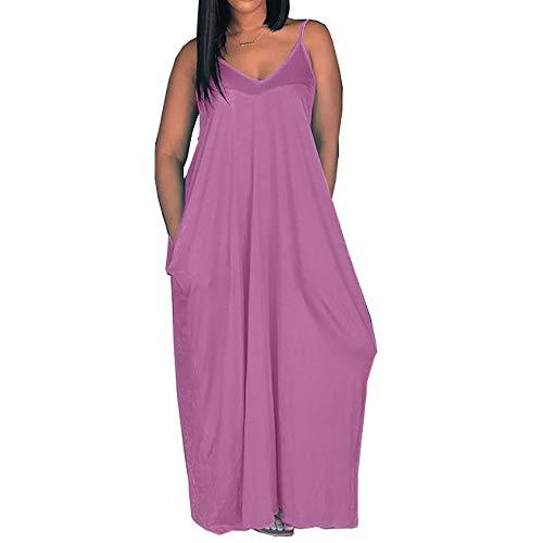 MaQiYa Womens Summer Maxi Dresses Spaghetti Strap Cami Dresses Casual Cotton Pocket Dresses