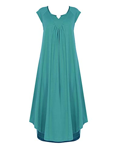 Ekouaer Sleepwear Cotton v Neck Sleep Dress Womens Sleeveless Long Nightgown - Long Gown Sleepwear