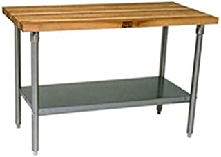 "product image for John Boos JNS13 Maple Top Work Table, 96"" Wide, With Undershelf"